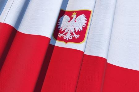 polish flag: Republic of Poland Flag. Polish National Flag on Canvas. 3D Illustration.