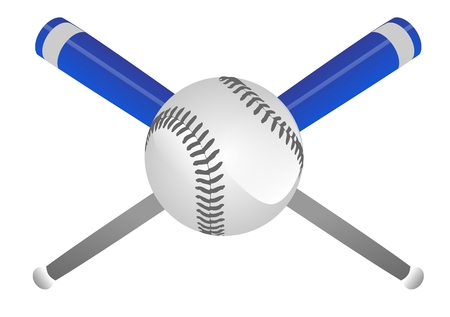 Crossing Baseball Bats and Ball Isolated Illustration on White. Stock fotó
