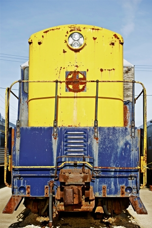 Old Locomotive Front Portrait. Vintage Railroad Photo. photo