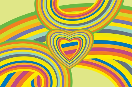 Colorful Abstract Rainbows Background with Heart Symbol. Colorful Artistic Abstract