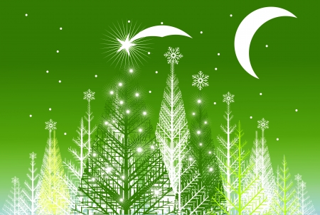Green Cartoon Forest Abstract Illustration with Moon and Stars.