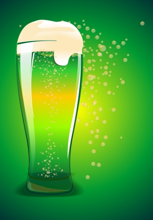 Glass of Green Bear Illustration. Saint Patricks Day Illustration. Фото со стока