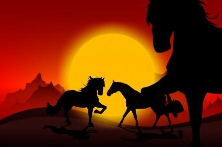 Wild Mustangs Sunset. Wild Horses in Sunset Abstract Illustration. illustration