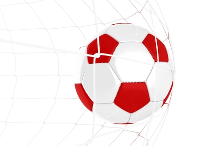 soccer goal: Red and White Soccer Ball in Net Isolated on White. Stock Photo