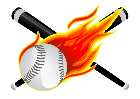 Baseball in Flames. Baseball Bats, Softball and Flames Illustration Isolated on White.