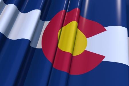 colorado flag: State of Colorado 3D Flag Illustration . United States Colorado Flag Graphic. Stock Photo