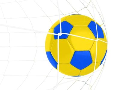 黄色青いサッカー ボール ウクライナ青と黄色の色白で隔離。 写真素材