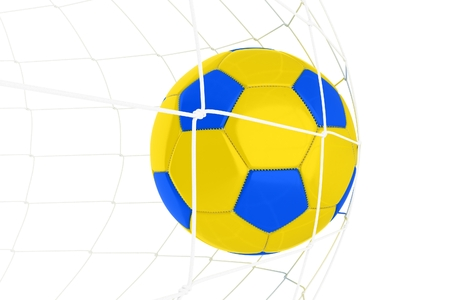 goalkeeper: Yellow Blue Soccer Ball Ukrainian Blue and Yellow Colors Isolated on White. Stock Photo