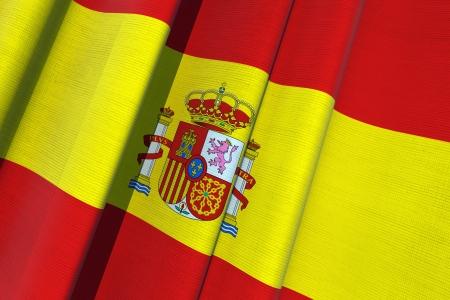 Spain Waving Flag 3D Render Illustration. Banco de Imagens