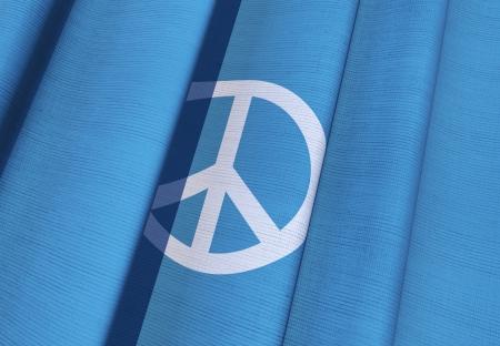 peace flag: Blue Waving Peace Flag 3D Illustration.