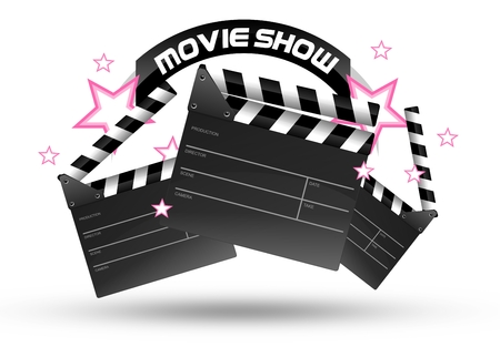 show time: Movie Show Time. Three Movie Clippers and Pink Stars Isolated on White. Entertainment Illustration.