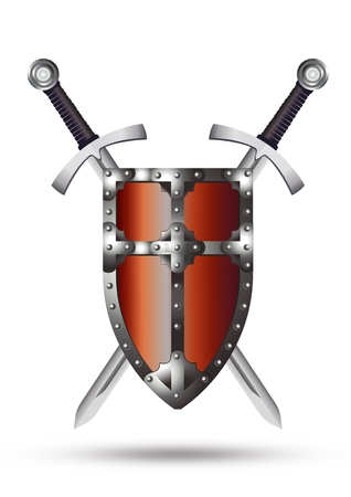 Medieval Shield and Swords Illustration Isolated on White Background.