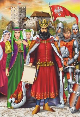 rey medieval: Europeo rey medieval y Royal S�quito con el castillo medieval en segundo plano. Ilustraci�n art�stica Vertical.