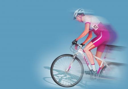 solid blue background: Speeding Biker Illustration. Biker in Motion on Solid Blue Background. Stock Photo