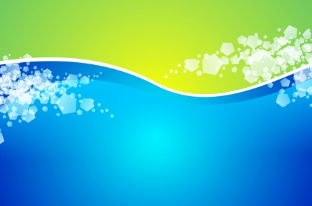 Abstract Wavy Green and Blue Background Illustration with Some Particles. Stock fotó