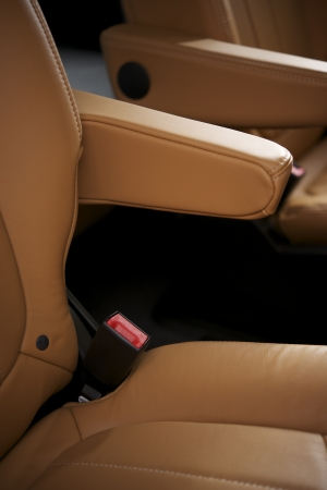 Leather Upholstery Car Seats Closeup.  photo