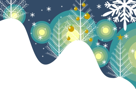 artisitc: Winter Abstract Illustration. Snowy Hills and Trees with Ornaments.