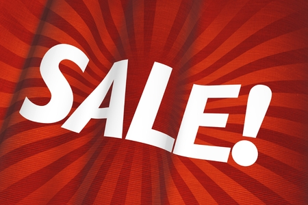 specials: Red Canvas Sale Flag 3D Illustration. Stock Photo