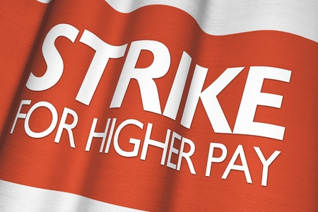 activists: Strike For Higher Pay Canvas Waving Flag Illustration.