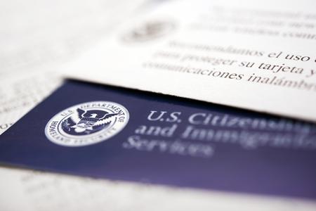 United States Immigration Dokumente. US Department of Homeland Security. Begrüßungsschreiben. Standard-Bild