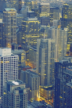American Skyline. Downtown Chicago, Illinois After Sunset. United States. photo
