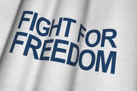 Fight For Freedom White Canvas Flag with Dark Blue Lettering. Фото со стока