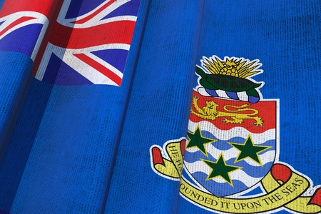 cayman: Cayman Islands Waving Canvas Flag. The Cayman Islands are a British Overseas Territory in the Western Caribbean Sea. 3D Flag Illustration.