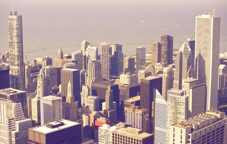 windy city: Downtown Chicago From Above in Ultraviolet Color Grading. Chicago, United States.