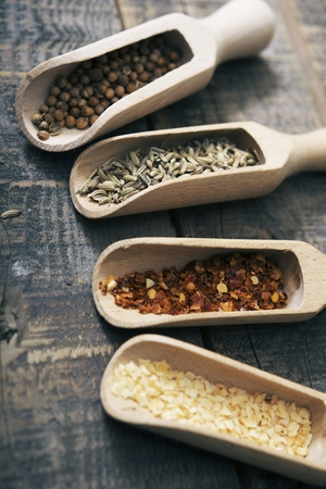 Dried Spices in Wood Scoops on Aged Vintage Wood Table. Crushed Red Pepper, Coriander, Fennel and Garlic. Spices Collection.