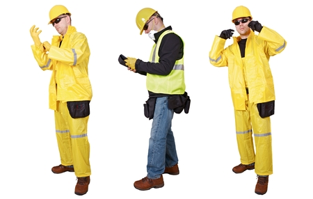Contractors Poses Isolated on White. Three Poses.  Contractor in Black Glasses and Yellow Helmet. photo