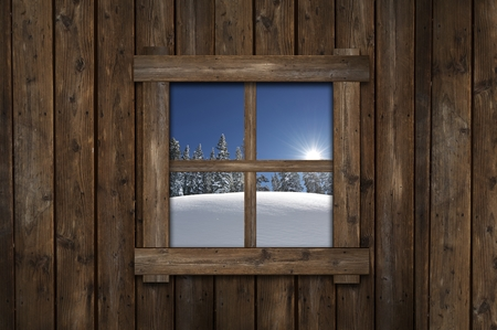 window view: Winter Cabin Window Illustration. OLd Cabin with Small Window with Scenic Winter View.
