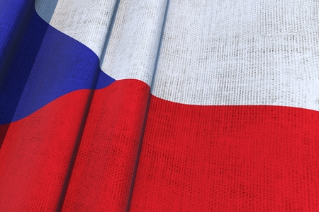 Czech Republic Waving Canvas Flag 3D Render Illustration.