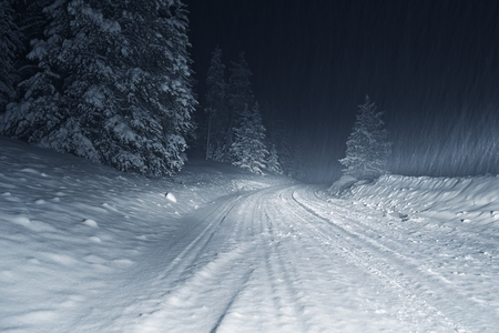 overnight: Colorado Winter Storm at Night. Country Road Covered by Heavy Snow.