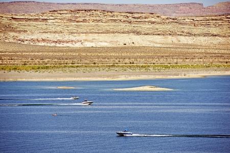 lake powell: Lake Powell Recreation. Arizona Lake Boating. Stock Photo