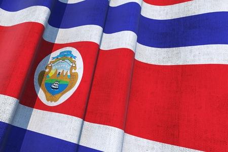 Costa Rica National Flag. 3D Canvas Flag Illustration 版權商用圖片