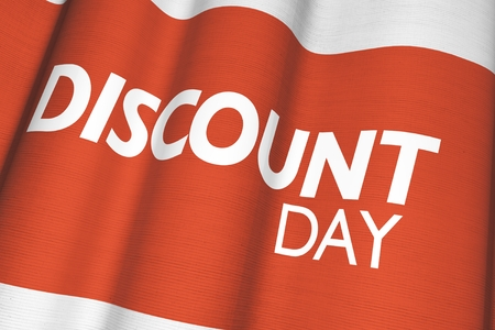 specials: Discount Day Canvas Flag 3D Render Business Illustration.