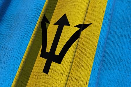 バルバドスの国旗。3 D バルバドス 3 D キャンバスの国旗を振っています。 写真素材