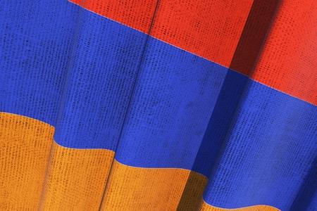 アルメニア国立キャンバス旗。アルメニア国旗の 3 D レンダリングの図。