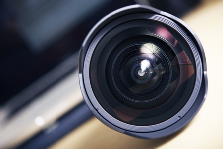 telephoto: Wide Angle Pro Photography Lens Closeup. Front Glass.