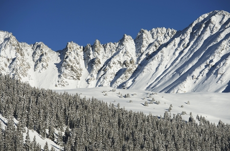 Winter Nature Landscape. Rocky Mountains Covered by Snow. Colorado, United States. photo
