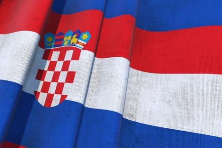 クロアチア国旗。3 D を振ってキャンバス旗イラスト。