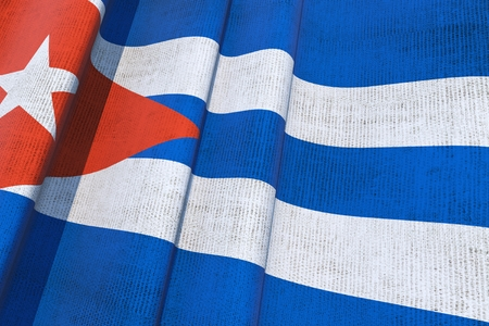 havana: Cuban National Canvas Flag 3D Illustration.