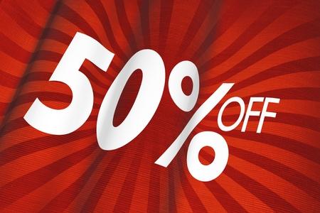 specials: 50% Off Red Linen Flag Illustration. Marketing Background.