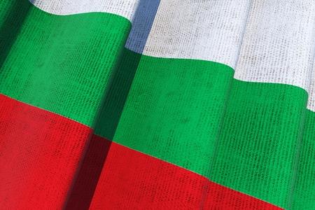 europeans: Bulgarian National Canvas Flag 3D Illustration.