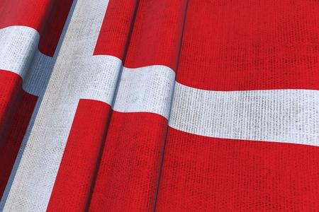 Denmark Waving Canvas Flag 3D Illustration.