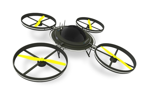 3d mode: Quadcopter Dron Isolated on White Background. Remote Aircraft Technology. 3D Render Illustration. Stock Photo