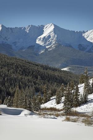 Summit County Winter. Colorado Sunny Scenic Winter Landscape. Rocky Mountains, United States.