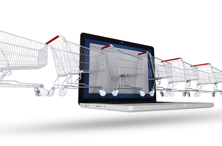 laptop screen: Internet Shoppers Concept. Line of Shopping Cart Coming Through the Laptop. Abstract 3D Illustration Isolated on White. E-Commerce Theme.