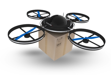 Postal Drone Isolated on White Background. 3D Drone with Package Illustration.  Drone Technology Zdjęcie Seryjne