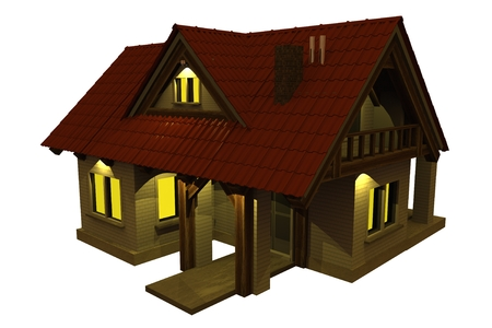 Home at Night Isolated on White. Small House Illuminated at Night. 3D Illustration. Stock fotó